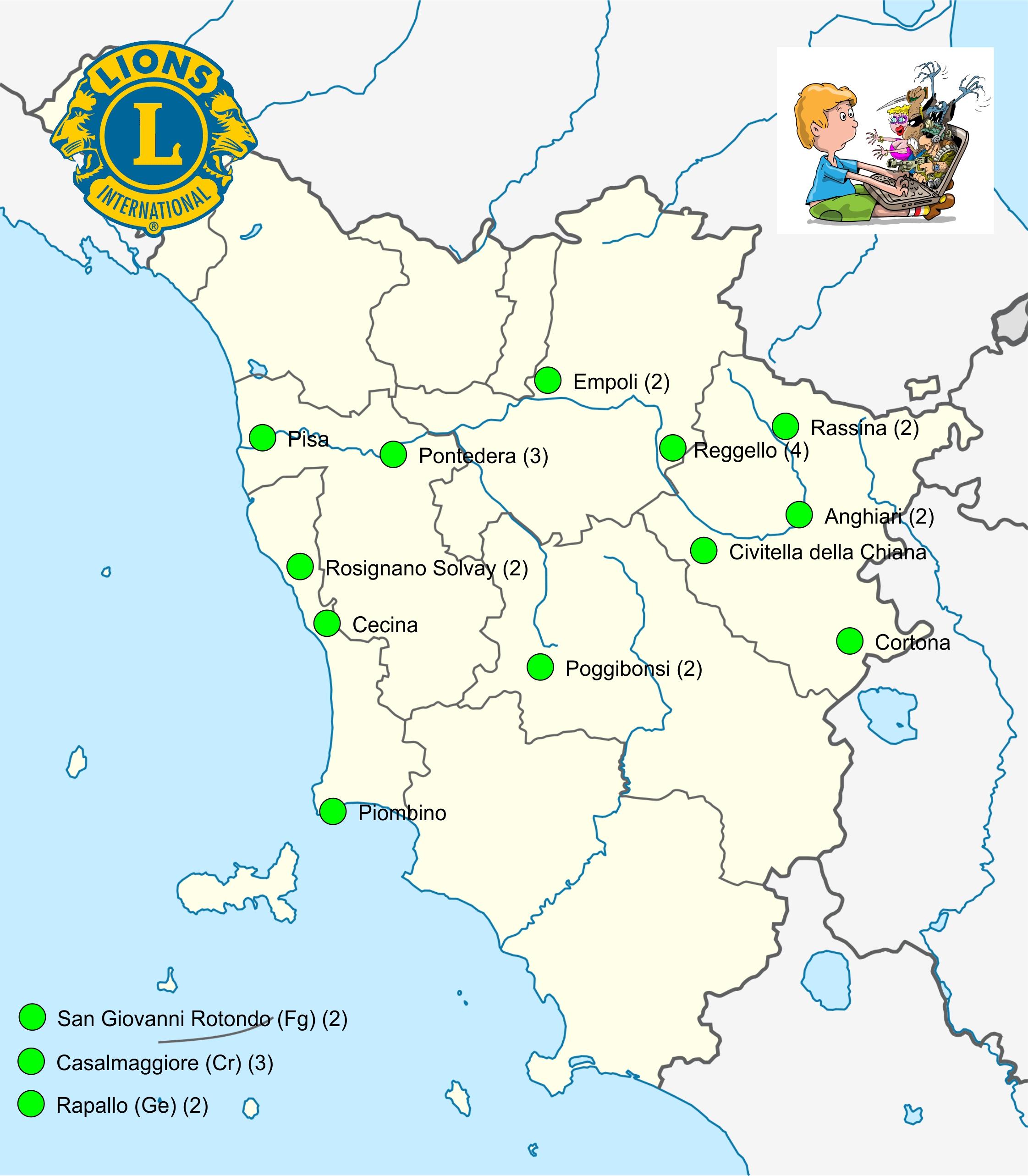 Www Cartina Toscana.Cartina Toscana Aggiornata Lions Club International Multidistretto 108 I T A L Y