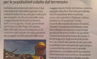Nel Corriere della Sera – Economia si parla dei Lions e della raccolta per le zone terremotate