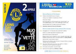 Programma Lions Day 2017 - Norcia, 2 Aprile