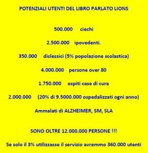 libro parlato lions numero utenti