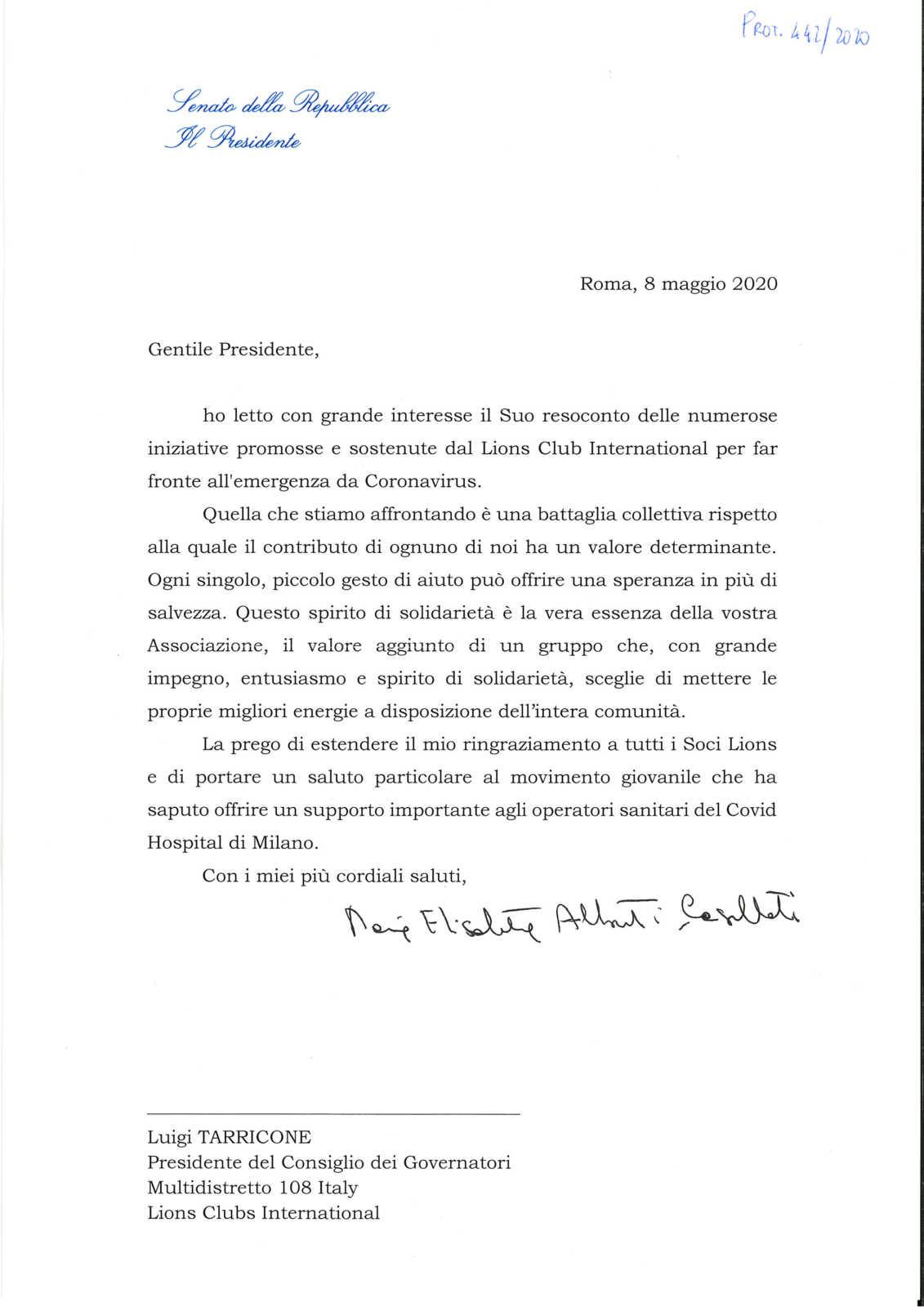 lions club italia coronavirus ringraziamento presidente senato