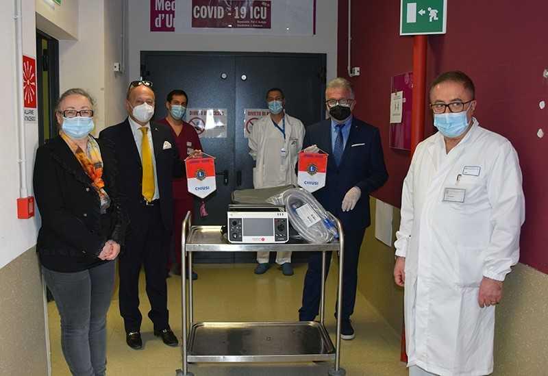 lions chiusi coronavirus donazione ventilatore ospedale siena